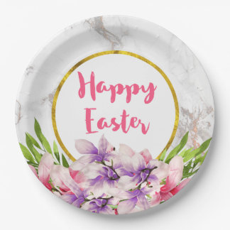 Watercolor Magnolias, Faux Marble Texture Easter Paper Plate