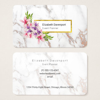 Watercolor Magnolias, Faux Marble Texture Modern Business Card