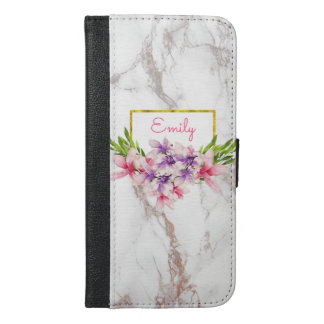 Watercolor Magnolias, Faux Marble Texture Modern iPhone 6/6s Plus Wallet Case
