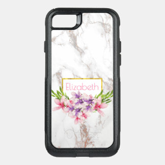 Watercolor Magnolias, Faux Marble Texture Modern OtterBox Commuter iPhone 8/7 Case