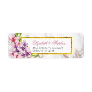Watercolor Magnolias, Faux Marble Texture Wedding