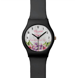 Watercolor Magnolias, Faux Marble Texture Wedding Watch