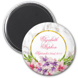 Watercolor Magnolias, White Marble Texture Wedding Magnet