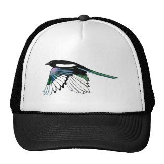 Watercolor Magpie Bird in Flight Custom Name Art Trucker Hat