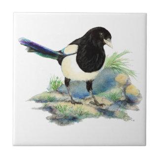 Watercolor Magpie Bird Wildlife Art Tile