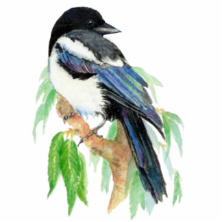 Watercolor Magpie Bird Wildlife, Nature, Ornament Standing Photo Sculpture