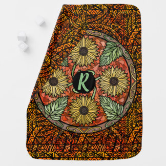 Watercolor Mandala Custom Monogram Customize Baby Blanket