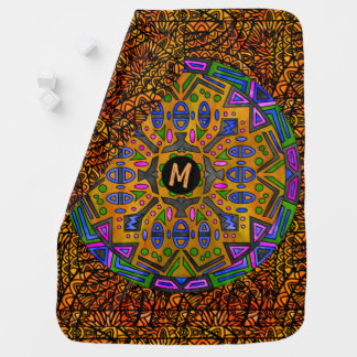 Watercolor Mandala Custom Monogram Customize Perso Baby Blanket