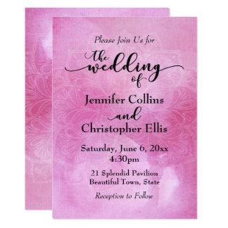 Watercolor Mandala Wedding Invitation in Deep Pink
