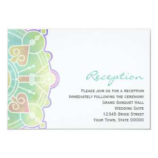 Watercolor Mandala Wedding Reception Info Card