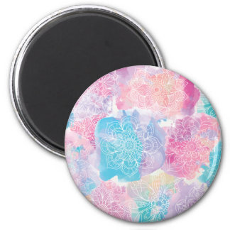 Watercolor mandalas colorful splashes boho 2 inch round magnet