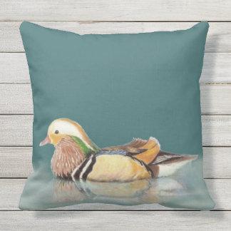 Watercolor Mandarin Duck Wildlife Nature art Throw Pillow