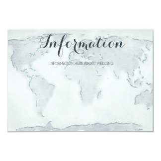 Watercolor map wedding information card