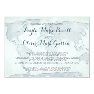 Watercolor map wedding invitation