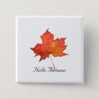 Watercolor Maple Leaf 2 Inch Square Button