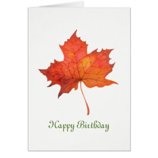 Watercolor Maple Leaf Card