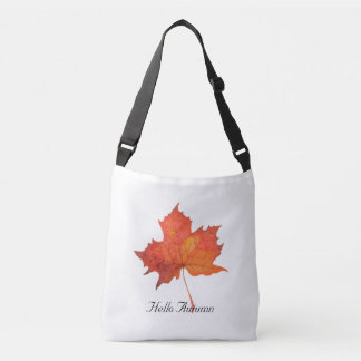 Watercolor Maple Leaf Crossbody Bag