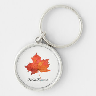 Watercolor Maple Leaf Keychain