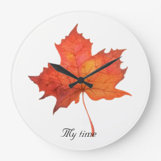 Watercolor Maple Leaf Large Clock