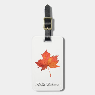 Watercolor Maple Leaf Luggage Tag
