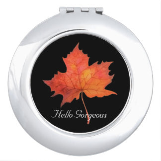 Watercolor Maple Leaf Makeup Mirrors