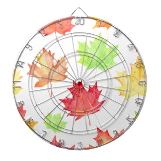 Watercolor Maple Leaf Pattern Dartboard