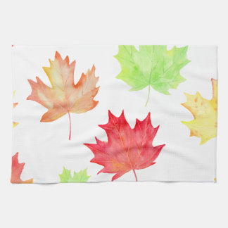 Watercolor Maple Leaf Pattern Kitchen Towel