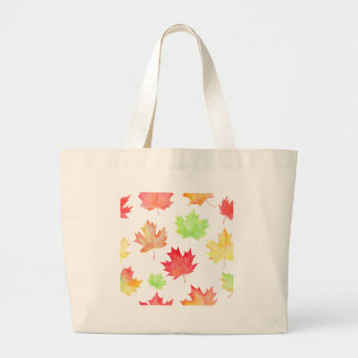 Watercolor Maple Leaf Pattern Large Tote Bag