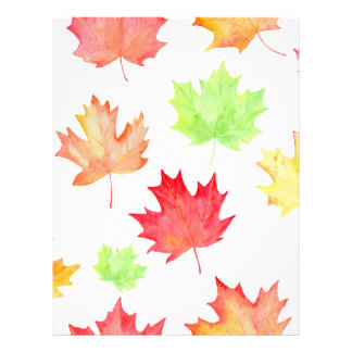 Watercolor Maple Leaf Pattern Letterhead