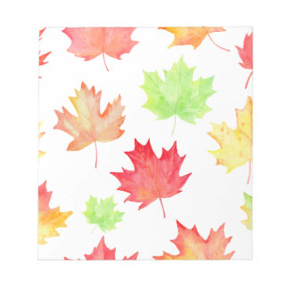 Watercolor Maple Leaf Pattern Notepads