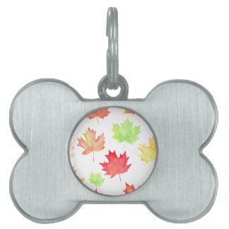 Watercolor Maple Leaf Pattern Pet Name Tag