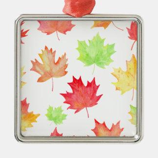 Watercolor Maple Leaf Pattern Silver-Colored Square Ornament