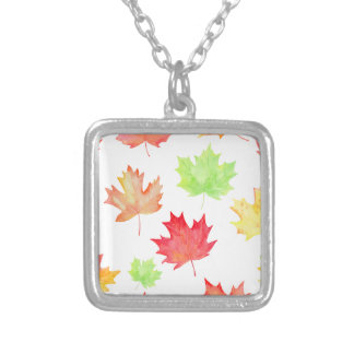 Watercolor Maple Leaf Pattern Silver Plated Necklace