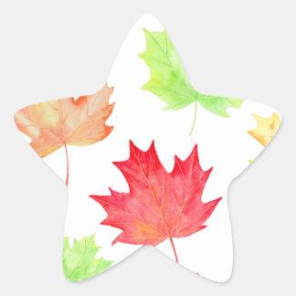 Watercolor Maple Leaf Pattern Star Sticker