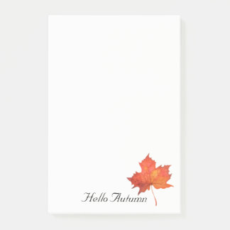 Watercolor Maple Leaf Post-it Notes