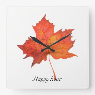 Watercolor Maple Leaf Square Wall Clock