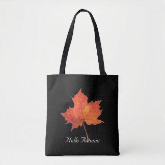 Watercolor Maple Leaf Tote Bag
