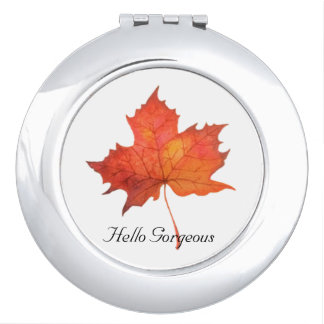 Watercolor Maple Leaf Travel Mirrors
