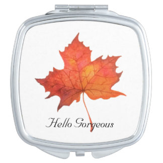 Watercolor Maple Leaf Vanity Mirror