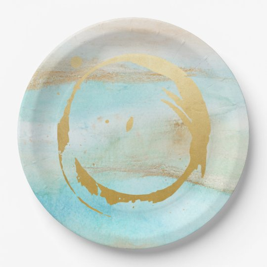 Watercolor Marble Bridal Baby Shower Paper Plates 9 Inch Paper Plate