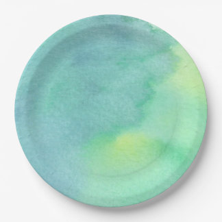 Watercolor Marine Greens  - All Options Paper Plate