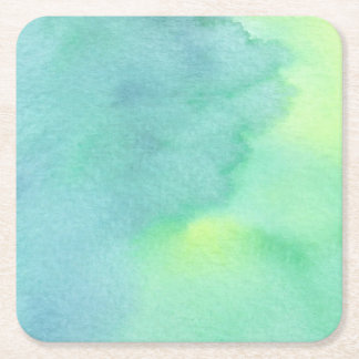 Watercolor Marine Greens  - All Options Square Paper Coaster