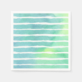Watercolor Marine Greens  Striped - All Options Disposable Napkins