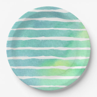 Watercolor Marine Greens  Striped - All Options Paper Plate