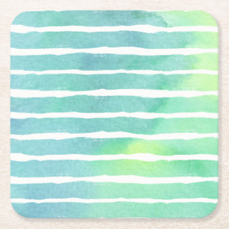 Watercolor Marine Greens  Striped - All Options Square Paper Coaster