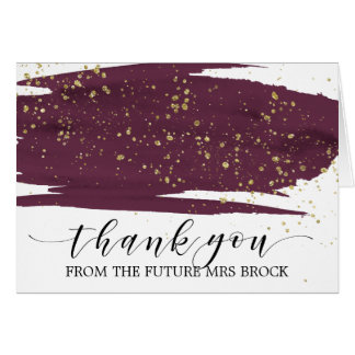 Watercolor Marsala and Gold Future Mrs Thank You Card