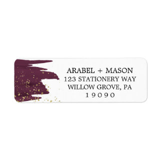 Watercolor Marsala and Gold Sparkle Wedding Return Address Label