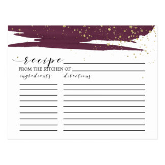 Watercolor Marsala Gold Bridal Shower Recipe Cards