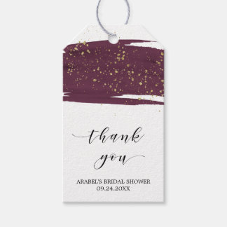 Watercolor Marsala & Gold Bridal Shower Thank You Gift Tags