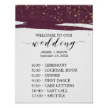 Watercolor Marsala & Gold Sparkle Order of Events Poster